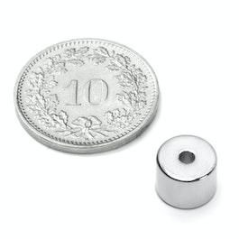 R-08-02-06-N Ringmagnet Ø 8/2 mm, Höhe 6 mm, Neodym, N50, vernickelt