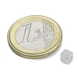 W-04-N Cube magnétique 4 mm, néodyme, N42, nickelé