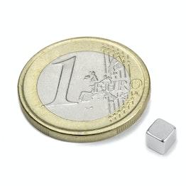W-04-N Würfelmagnet 4 mm, hält ca. 500 g, Neodym, N42, vernickelt