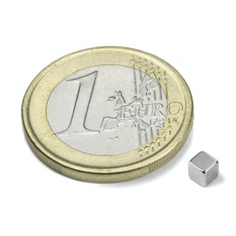 W-03-N Cube magnet 3 mm, neodymium, N45, nickel-plated