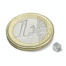 W-03-N Kubusmagneet 3 mm, houdt ca. 290 gr, neodymium, N45, vernikkeld