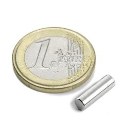 S-04-13-N Stabmagnet Ø 4 mm, Höhe 12,5 mm, Neodym, N42, vernickelt