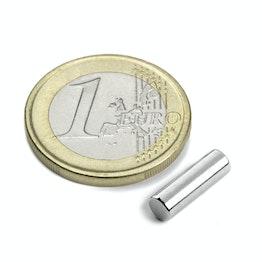 S-04-13-N Cilindro magnetico Ø 4 mm, altezza 12,5 mm, tiene ca. 660 g, neodimio, N42, nichelato