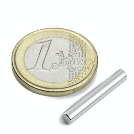 S-04-25-N Rod magnet Ø 4 mm, height 25 mm, neodymium, N42, nickel-plated