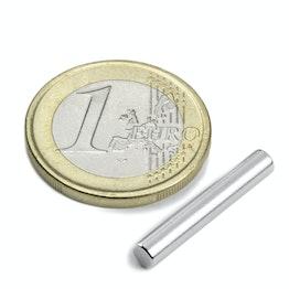 S-04-25-N Cilindro magnetico Ø 4 mm, altezza 25 mm, tiene ca. 670 g, neodimio, N42, nichelato