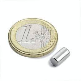 S-05-08-N Cylindre magnétique Ø 5 mm, hauteur 8,47 mm, tient env. 1,1 kg, néodyme, N45, nickelé