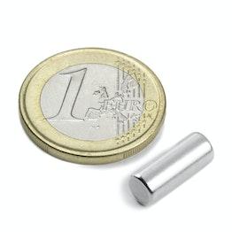 S-05-14-N Cylindre magnétique Ø 5 mm, hauteur 13,96 mm, néodyme, N45, nickelé