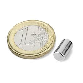 S-06-10-N Cilindro magnético Ø 6 mm, alto 10 mm, neodimio, N40, niquelado