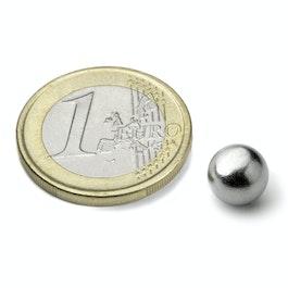 K-08-C Bille magnétique Ø 8 mm, néodyme, N38, chromé