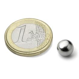 K-08-C Sfera magnetica Ø 8 mm, tiene ca. 850 g, neodimio, N38, cromato