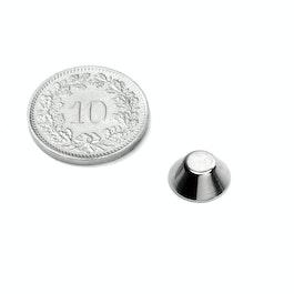 CN-10-05-04-N Cono magnetico Ø 10/5 mm, altezza 4 mm, neodimio, N45, nichelato