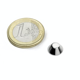 CN-10-05-04-N Cone magnet Ø 10/5 mm, height 4 mm, neodymium, N45, nickel-plated