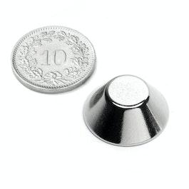 CN-20-10-08-N Konische magneet Ø 20/10 mm, hoogte 8 mm, neodymium, N38, vernikkeld