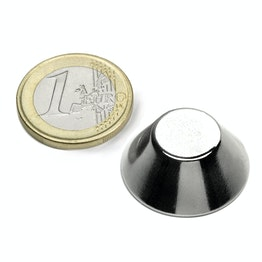 CN-25-13-10-N Cone magnet Ø 25/13 mm, height 10 mm, neodymium, N38, nickel-plated