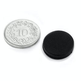 S-15-03-R Disco magnetico gommato Ø 16.8 mm, altezza 4.4 mm, neodimio, N45