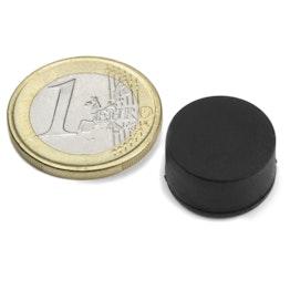 S-15-08-R Disco magnetico gommato Ø 16,8 mm, altezza 9,4 mm, tiene ca. 3,7 kg, impermeabile, neodimio, N42