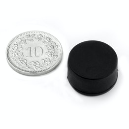 S-15-08-R Disco magnetico gommato Ø 16.8 mm, altezza 9.4 mm, impermeabile, neodimio, N42