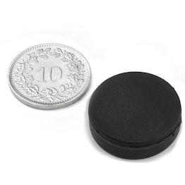 S-20-05-R Schijfmagneet met rubber coating Ø 22 mm, dikte 6.4 mm, waterdicht, neodymium, N42