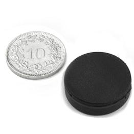 S-20-05-R Disco magnetico gommato Ø 22 mm, altezza 6.4 mm, tiene ca. 3.9 kg, impermeabile, neodimio, N42