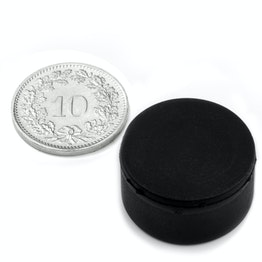 S-20-10-R Schijfmagneet met rubber coating Ø 22 mm, dikte 11.4 mm, houdt ca. 7.1 kg, waterdicht, neodymium, N42