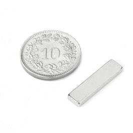 Q-20-05-02-HN Quadermagnet 20 x 5 x 2 mm, Neodym, 44H, vernickelt