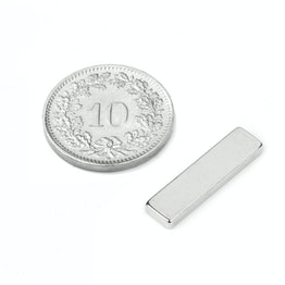 Q-20-05-02-HN Quadermagnet 20 x 5 x 2 mm, hält ca. 1.5 kg, Neodym, 44H, vernickelt