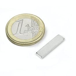 Q-20-05-02-HN Parallelepipedo magnetico 20 x 5 x 2 mm, tiene ca. 1,5 kg, neodimio, 44H, nichelato