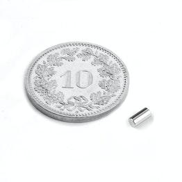 S-02-04-N Cilindro magnetico Ø 2 mm, altezza 4 mm, neodimio, N45, nichelato