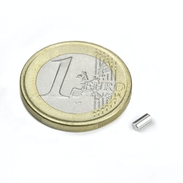 S-02-04-N Rod magnet Ø 2 mm, height 4 mm, neodymium, N45, nickel-plated