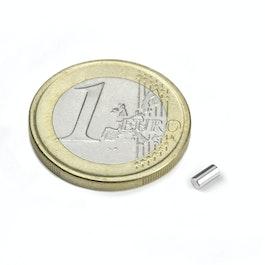 S-02-04-N Cylindre magnétique Ø 2 mm, hauteur 4 mm, néodyme, N45, nickelé