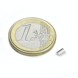 S-02-04-N Stabmagnet Ø 2 mm, Höhe 4 mm, hält ca. 160 g, Neodym, N45, vernickelt