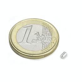S-02-03-N Staafmagneet Ø 2 mm, hoogte 3 mm, neodymium, N45, vernikkeld