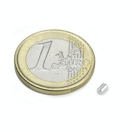 S-02-03-N Cilindro magnetico Ø 2 mm, altezza 3 mm, tiene ca. 160 g, neodimio, N45, nichelato