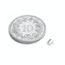 S-02-03-N Rod magnet Ø 2 mm, height 3 mm, holds approx. 160 g, neodymium, N45, nickel-plated