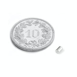 S-02-03-N Stabmagnet Ø 2 mm, Höhe 3 mm, Neodym, N45, vernickelt