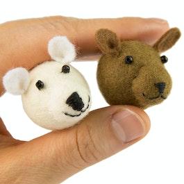 Teddies fridge magnets made of felt, with glass beads, set of 2