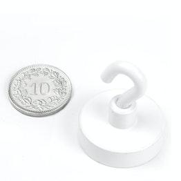 FTNW-25 Gancho magnético blanco Ø 25.3 mm, sujeta aprox. 16 kg, recubrimiento de polvo, rosca M4
