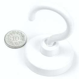 FTNW-40 Hook magnet white Ø 40.3 mm, powder-coated, thread M6