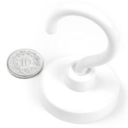 FTNW-40 Magnete con gancio bianco Ø 40.3 mm, verniciato a polvere, filettatura M6