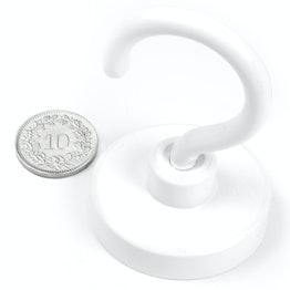 FTNW-40 Haakmagneet wit Ø 40.3 mm, met poedercoating, schroefdraad M6