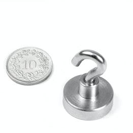FTN-20 Crochet magnétique Ø 20 mm, pas de vis M4, force d'adhérence env. 13 kg