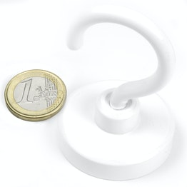 FTNW-40 Hook magnet white Ø 40,3 mm, powder-coated, thread M6