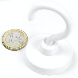FTNW-40 Gancho magnético blanco Ø 40,3 mm, recubrimiento de polvo, rosca M6