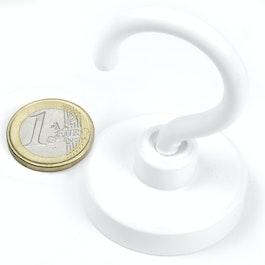FTNW-40 Hakenmagnet weiß Ø 40,3 mm, pulverbeschichtet, Gewinde M6