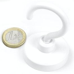 FTNW-40 Hakenmagnet weiß Ø 40,3 mm, hält ca. 50 kg, pulverbeschichtet, Gewinde M6