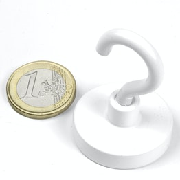FTNW-32 Hook magnet white Ø 32,3 mm, powder-coated, thread M5
