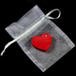 Red Heart koelkastmagneet hart, met zirkonia
