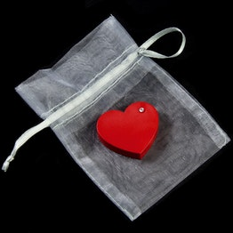 """Koelkastmagneet """"Red Heart"""" rood hart van acrylaat, met zirkonia, incl. organza zakje"""