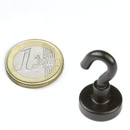 FTNB-16 Hakenmagnet schwarz Ø 16,3 mm, pulverbeschichtet, Gewinde M4