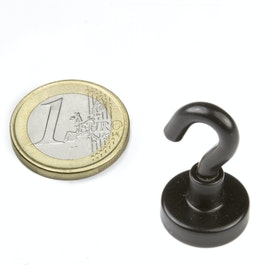 FTNB-16 Hook magnet black Ø 16,3 mm, powder-coated, thread M4